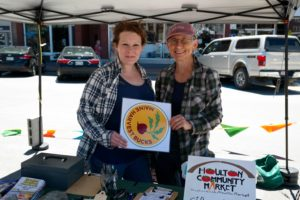 Lindsay Pelletier (left), Presque Isle Farmers' Market Info Booth Manager, with Marie Taft, MFFM's Aroostook County Farmers' Market SNAP Access Coordinator.